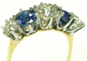e5217 18 karat and platinum diamond sapphire ring