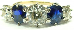 e5217 antique diamond and sapphire ring
