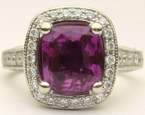 e8379 Fuschia sapphire and diamond ring