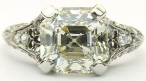 e8462 Antique Asscher square emerald cut diamond ring