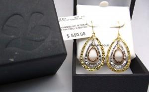 e8574 tri-colour drop earrings