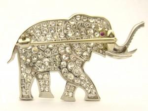 e8702.1 elephant brooch diamond platinum