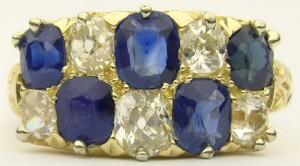 e8708 antique sapphire and diamond ring