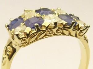 e8708.1 antique sapphire and diamond ring