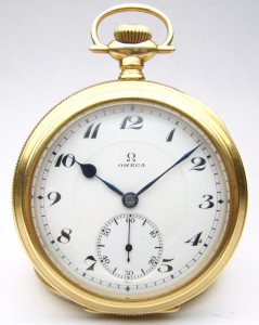 e8495.1 Omega 21 jewel adjusted 5 position pocket watch 14kt case