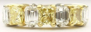 e8912 paltinum 22kt yellow diamond ring