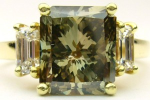 e8068 3.05ct dark greenish yellow-brown diamond ring