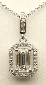 e9018 1.02ct. I1-H emerald cut diamond pendant