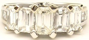 e6792 5 stone emerald cut diamond ring
