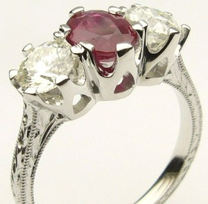 e9150.2 ruby and diamond ring hand engraved