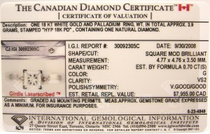 e9191 0.70ct. VS2-G Canadian diamond certificate
