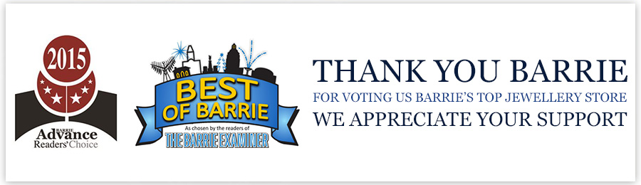 Thank you Barrie for voting us Barrie's top jewellery store