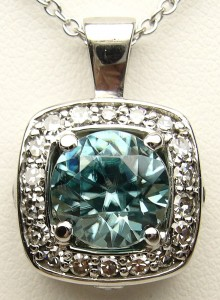 e8730 blue zircon and diamond pendant