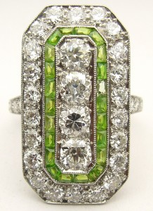 e9263 art deco diamond demantoid andradite garnet ring platinum