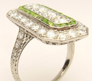 e9263 platinum art deco demantoid andradite garnet ring