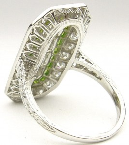e9263 platinum diamond art deco demantoid andradite garnet ring