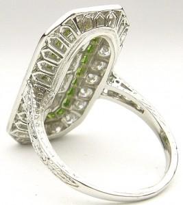 e9263 platinum diamond art deco demantoid andradite garnet ring