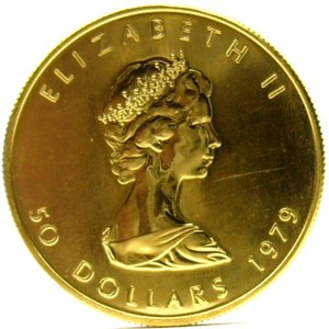 e9339 1979 Cadian Maple Leaf $50.00 fine gold coin 999