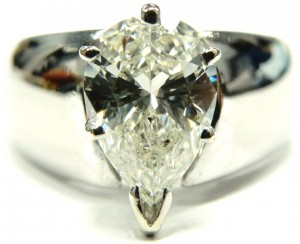 e9371 pear shaped diamond solitaire 1.65ct. I1-JK
