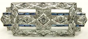 e9379 Art Deco platinum 18kt. diamond and sapphire brooch