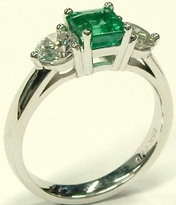 e9489 custom emerald and diamond 3 stone ring