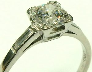 e9476 0.75ct. I2-F platinum Art Deco diamond ring