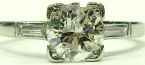 e9476 0.75ct. platinum diamond ring with baguettes