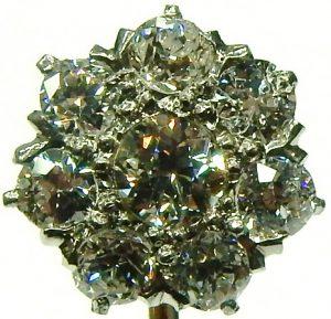 e9492 antique diamond stick pin platinum and yellow gold