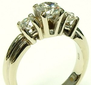 e9583 custom 3 stone diamond ring 18 karat white gold