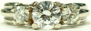e9583 three stone diamond ring 18 karat white gold