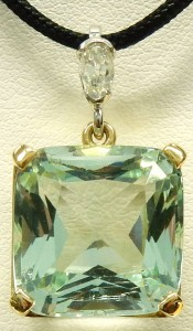 e9596 antique aquamarine and diamond pendant hand made 18 karat
