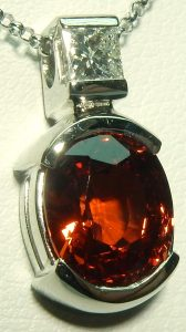 e9611 e9612 spessartite and diamond pendant 14kt.