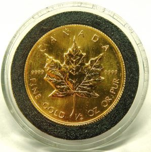 e9703 half ounce 9999 Canadian Maple leaf gold coin 1986