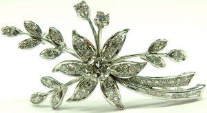 e9719 18 karat wintage floral spray diamond brooch
