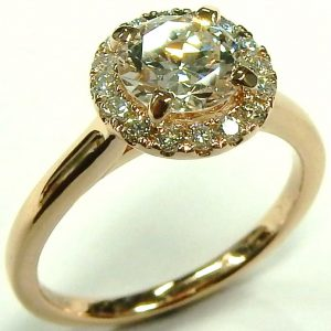 e9637 rose gold halo diamond ring 0.99ct. SI1-F GIA cert d16170 003