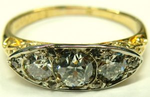 e9784 0.88ct. tw. filigree 18 karat antique dinner ring