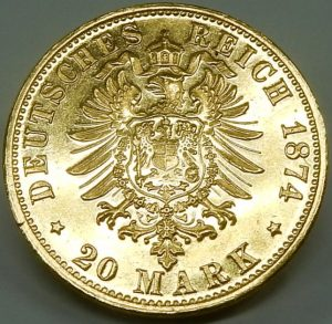 e9807 20 Mark Germany Ludwig II 1874 coin 001