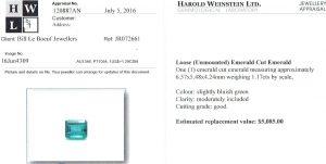 e9862 1.17 carat emerald Harold Weinstein appraisal