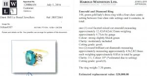 e9863 emerald diamond ring appraisal Harold Weinstein
