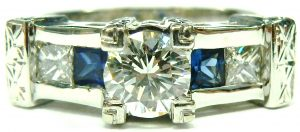 e9906 custom diamond and sapphire ring 14 karat 001