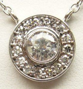 a861389d8a6d Not a scratch or scuff to be found. Original rhodium plating completely  intact. Italian made 16 inch rolo style necklace connects the 7 different  diamond ...
