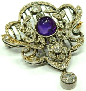 e9999-antique-platinum-diamond-amethyst-brooch-001
