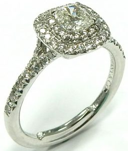 dc9f8eafe Tiffany platinum Soleste cushion halo diamond ring 0.68ct. tw. $4,900.00  CAD. e11797