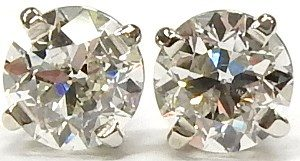 dcbafd857 VVS-F European cut diamond studs 14kt. white gold $3,640.00 CAD. e3390