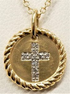 Million Charms 14k Yellow Gold Small//Mini Religious Latin Cross Pendant 13 X 28mm