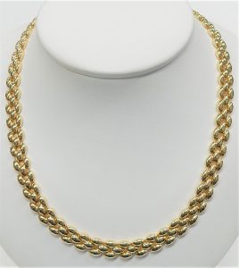Heavy Braided Look Chain Satin Silver Finish Necklace 18 5 mm wide
