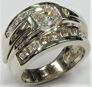 2.25 ct Brilliant Round Cut Designer Genuine Flawless VVS1 White Sapphire 14K 18K White Gold Solitaire with Accents Ring